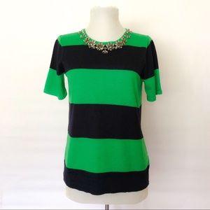 J Crew XS / Green & Navy Striped Sweater